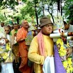 Бхакти Вишрамбха Мадхава Свами, Дханешвара прабху и Вайшнав-Тхакур прабху несут Божества