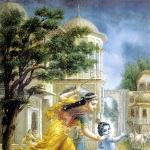 Яшода хочет побить Кришну палкой (Диргха д.д.)