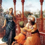 Рукмини и Кришна с сыном