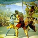 Кришна борется с Чанурой, а Баларама с Муштикой в Матхуре