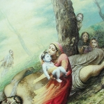 Кришна и мама Яшода на поверженном демоне Тринаварте (Джадурани д.д.)