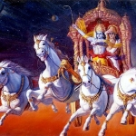 Арджуна и Кришна на колеснице летят к Маха-Вишну
