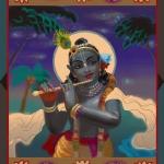 Кришна с флейтой (худ. Чайтанья Чандра Чаран дас)
