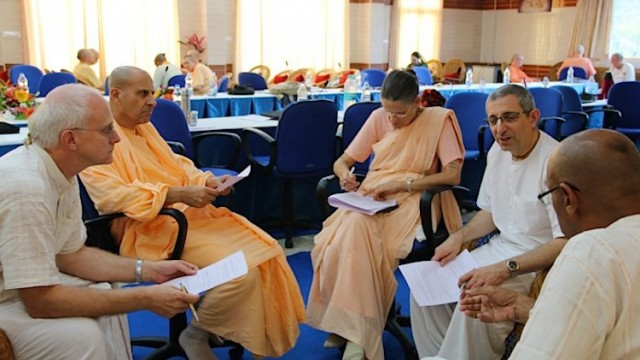 Anuttama Das, Radhanath Swami, Malati Devi Dasi, Braja Bihari Das and Sesa Das deep in discussion during the GBC Organisational Development Meetings.